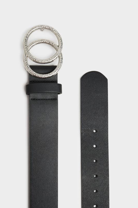 Black Textured Double Circle Belt