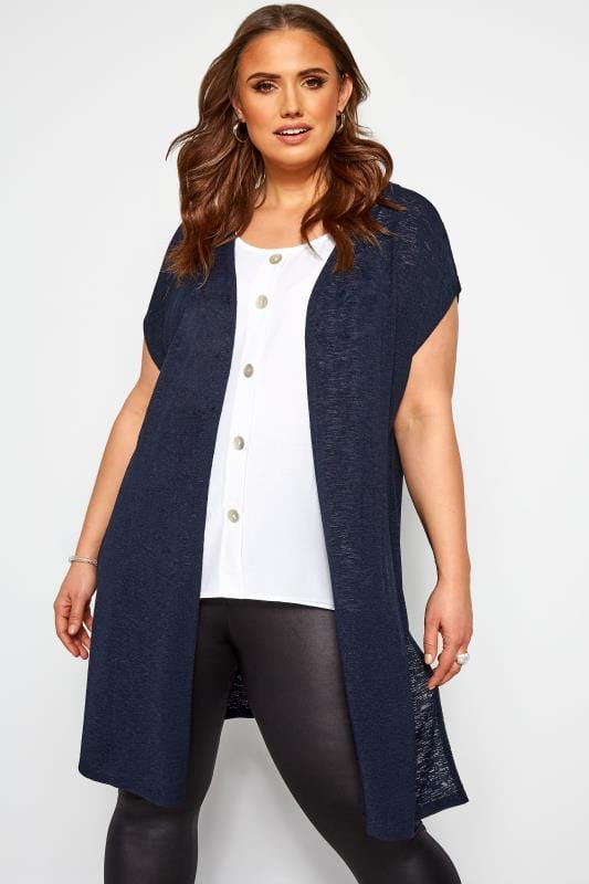 Plus Size Cardigans Navy Short Sleeve Cardigan