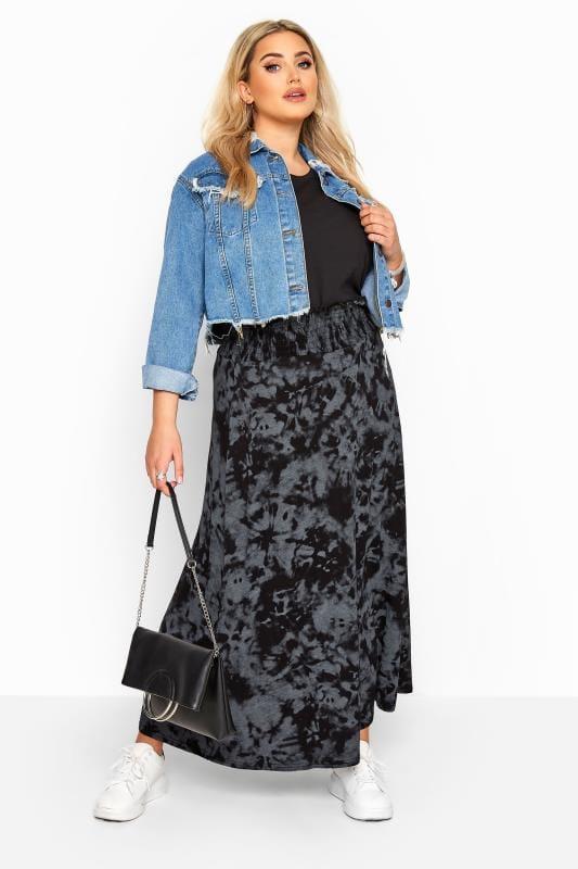 Plus Size Maxi Skirts Black & Grey Tie Dye Shirred Waist Maxi Skirt