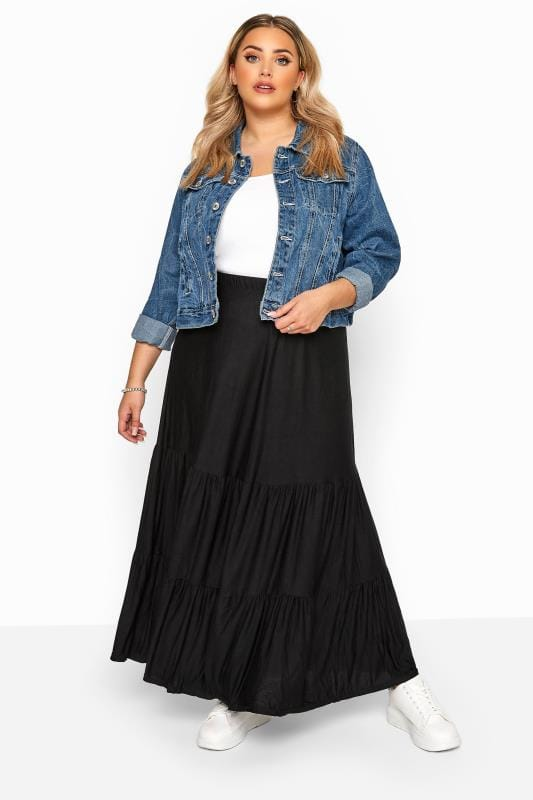 Plus Size Maxi Skirts Black Tiered Maxi Skirt