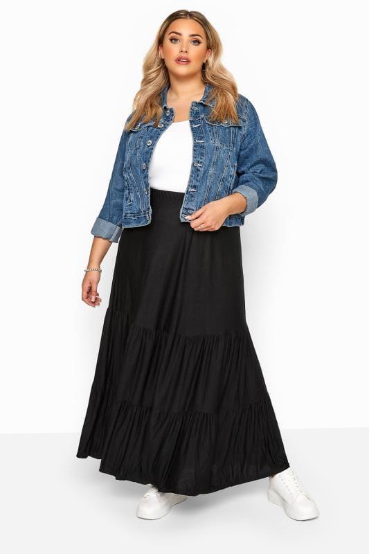 Maxi Skirts dla puszystych Black Tiered Maxi Skirt