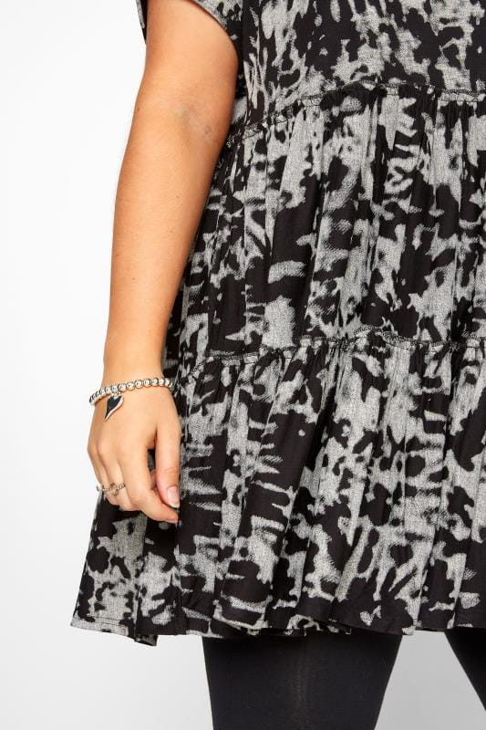 Black & Grey Tie Dye Peplum Smock Tunic