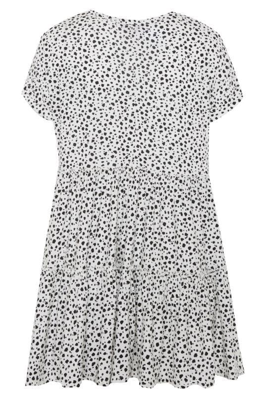 White Dalmatian Print Peplum Smock Tunic