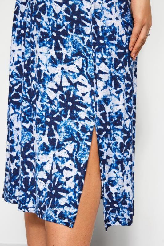 Blue Floral Tie Dye Ring Detail Midi Dress