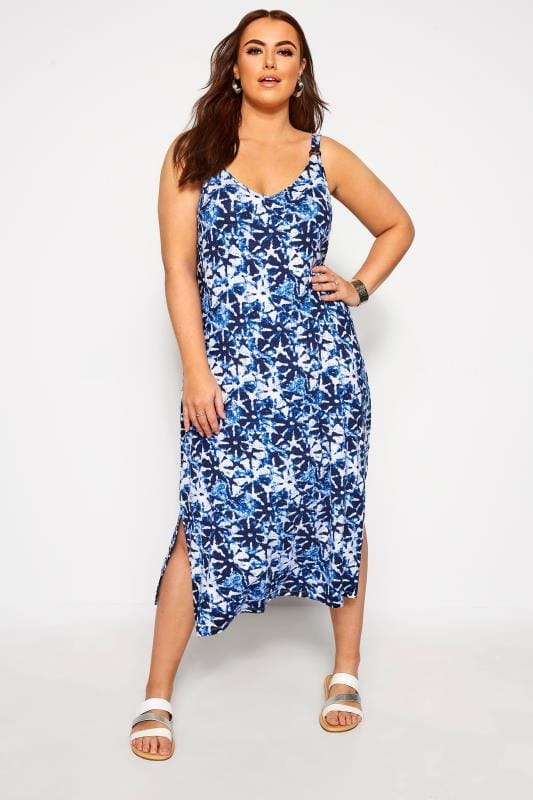 Robe Mi-Longue Bleue Imprimé Floral