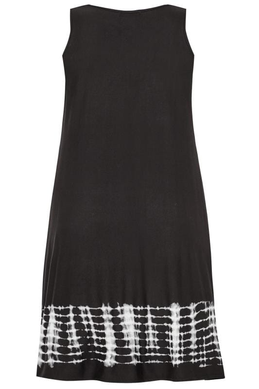 Black Tie Dye Border Sleeveless Drape Pocket Dress