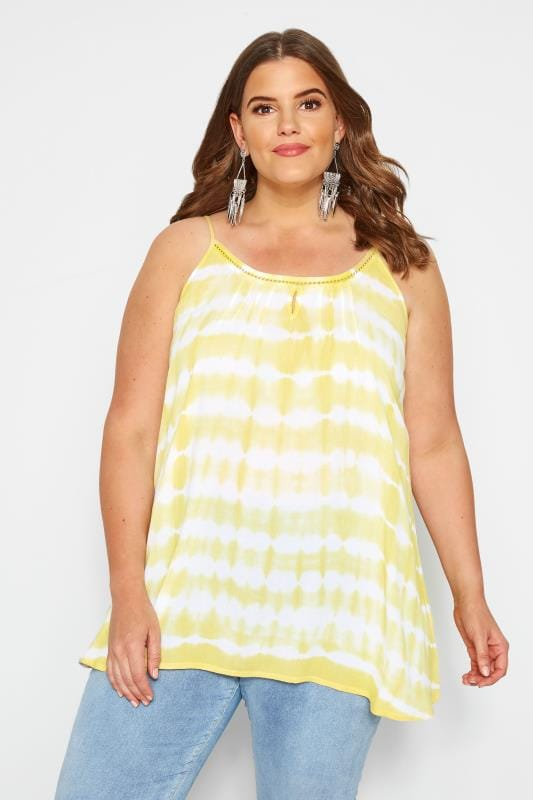 Plus Size Vests & Camis Yellow Tie Dye Vest Top