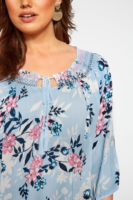 Blue Floral Shirred Gypsy Top