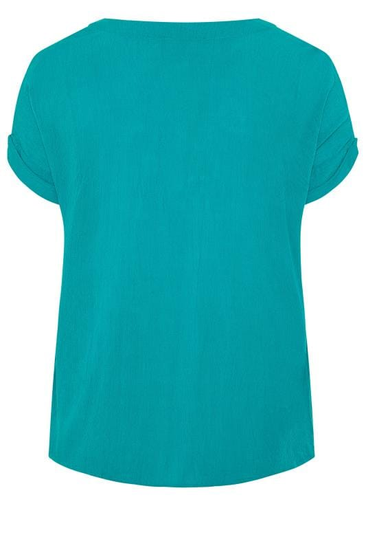 Turquoise Blue Button Front Tie Top