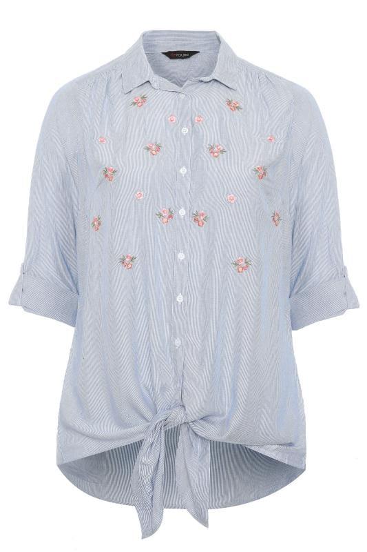 Blue Floral Stripe Tie Front Shirt