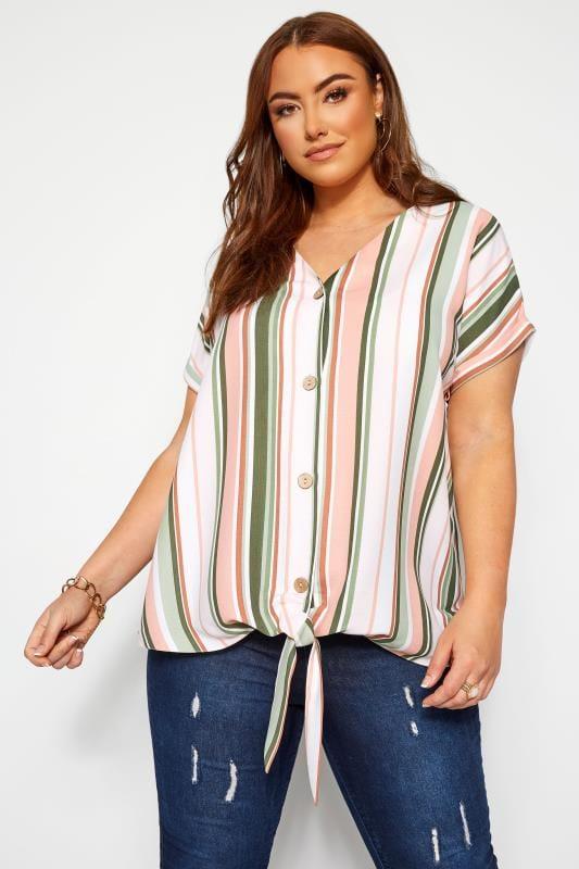 Plus Size Blouses Green & Pink Stripe Tie Front Blouse