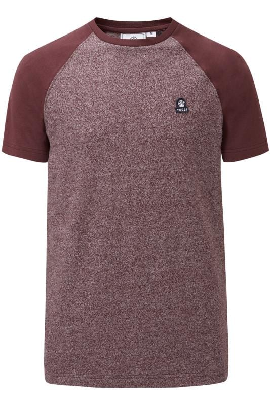 Plus Size T-Shirts TOG24 Burgundy Marl Raglan Short Sleeve T-Shirt