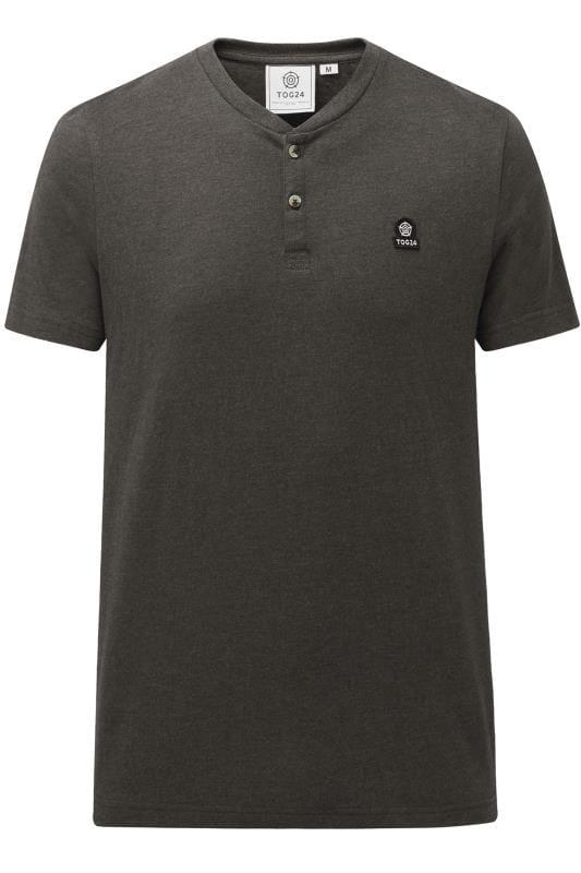 Plus Size T-Shirts TOG24 Dark Grey Marl Grandad T-Shirt