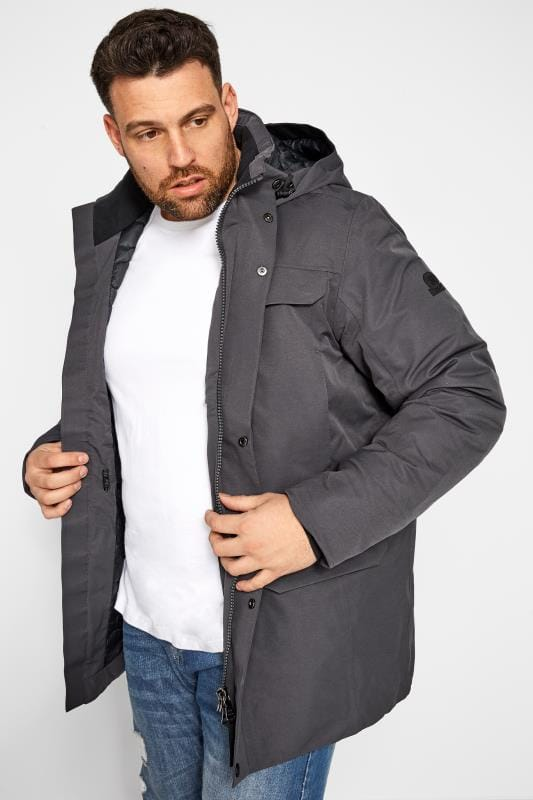 Plus Size Coats TOG24 Grey Waterproof Down Parka Coat