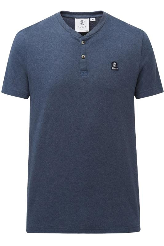Plus Size T-Shirts TOG24 Navy Marl Grandad T-Shirt