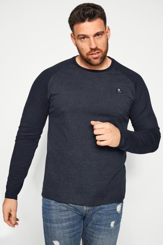 Plus-Größen T-Shirts TOG24 Navy Marl Raglan Top