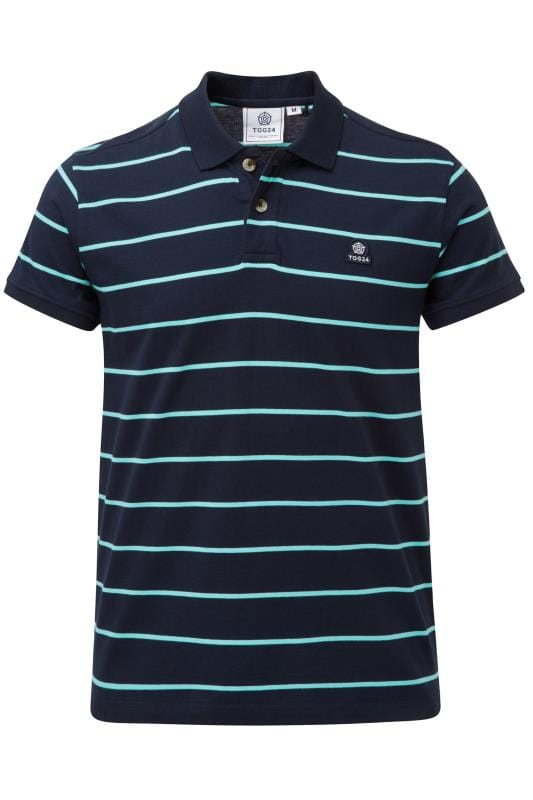 Plus Size Polo Shirts TOG24 Navy Stripe Polo Shirt