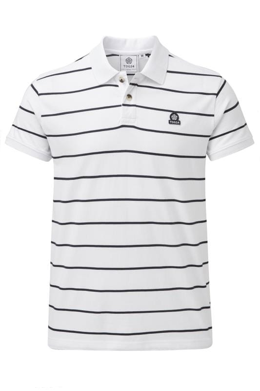 Plus Size Polo Shirts TOG24 White Stripe Polo Shirt