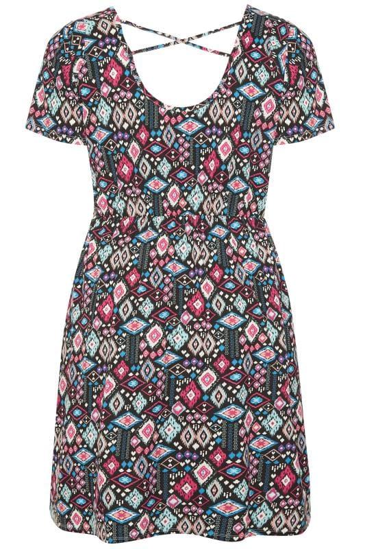 Black Aztec Print Cross Back T-Shirt Dress