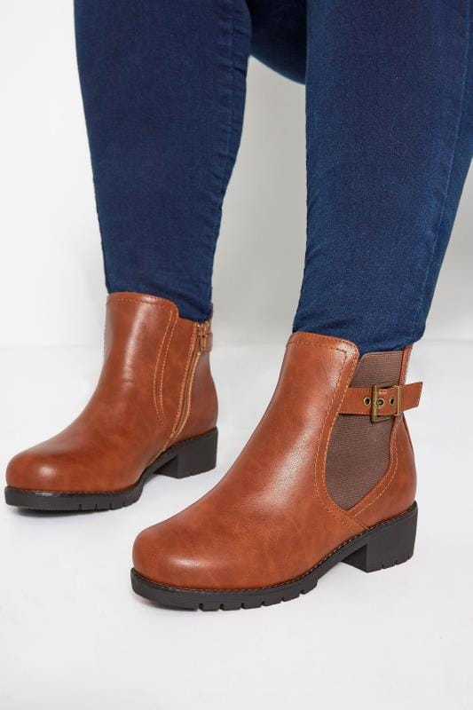 Plus Size Booties Tan Chelsea Buckle Ankle Boots In Extra Wide Fit