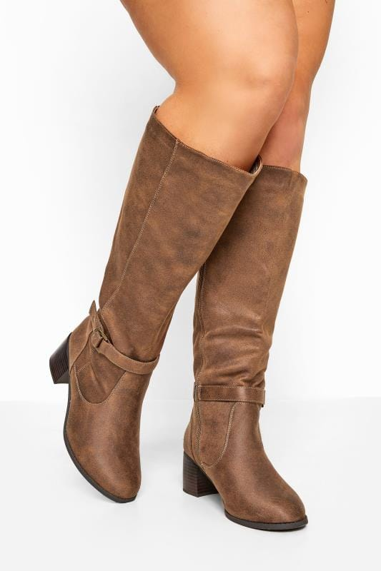 Wide Fit Knee High Boots Tan Faux Suede Knee High Boots In Extra Wide Fit