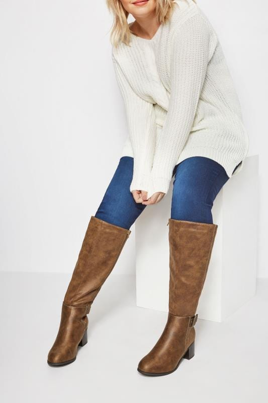 Tan Knee High Buckle Heeled Boots In Extra Wide Fit