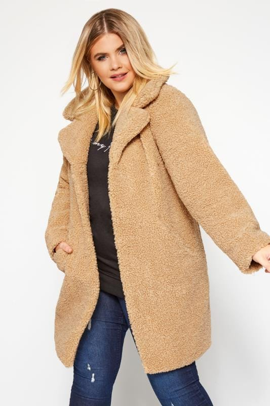 Plus Size Coats Tan Teddy Coat