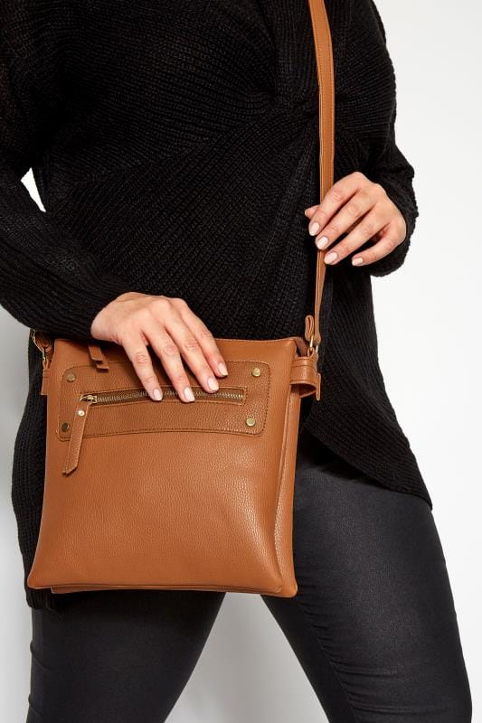 Bags & Purses dla puszystych Tan Zip Cross Body Bag