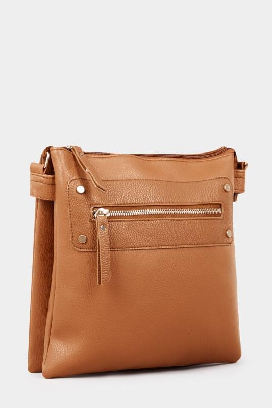 Tan Zip Cross Body Bag