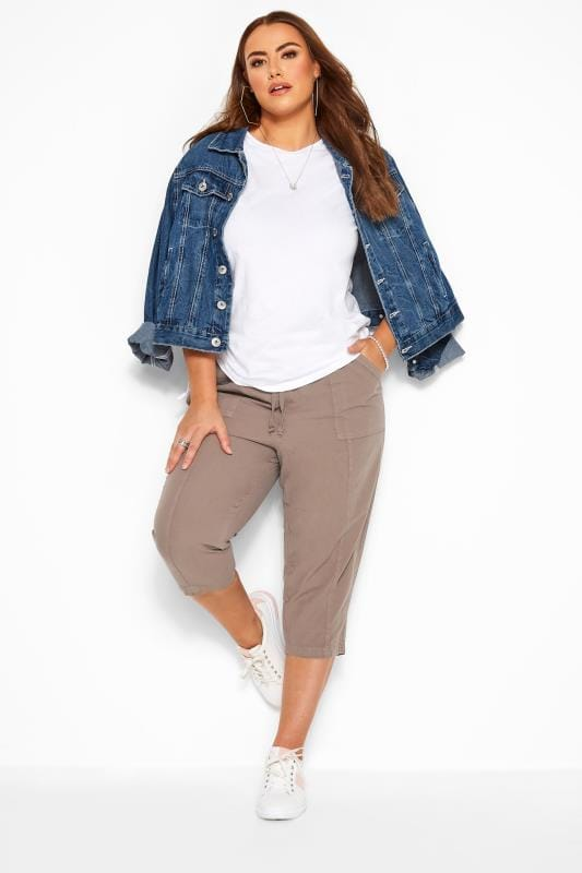Plus Size Cropped Trousers Taupe Cotton Cropped Trousers