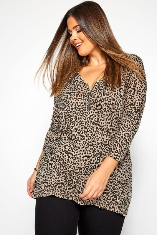 Plus Size Jersey Tops Taupe Leopard Print Zip Swing Top
