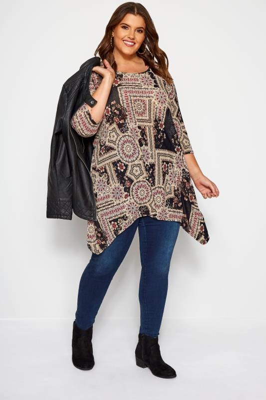 Taupe Mixed Tile Print Top