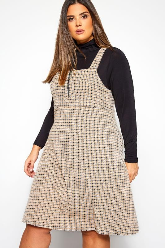 Plus Size Pinafore Dresses Taupe & Mustard Yellow Houndstooth Check Zip Pinafore Dress