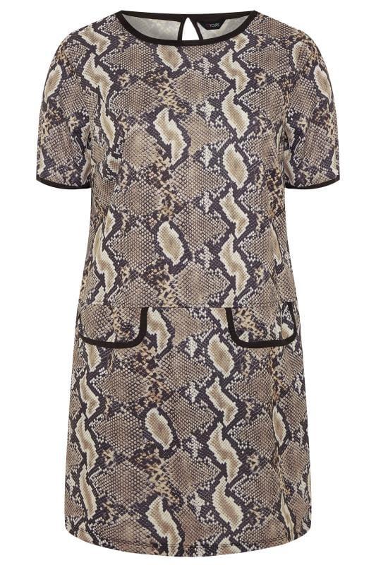 Plus Size Tunics Taupe Snake Print Tunic