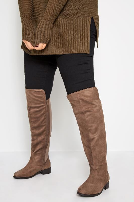 Plus Size Knee High Boots Taupe Stretch Faux Suede Over The Knee Boots In Extra Wide Fit