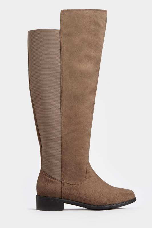 Overknee laarzen met brede schacht in taupe