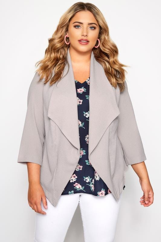 Plus Size Blazers SIZE UP Taupe Crepe Waterfall Blazer Jacket