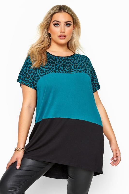 Plus Size Jersey Tops Teal Blue Animal Print Colour Block Top