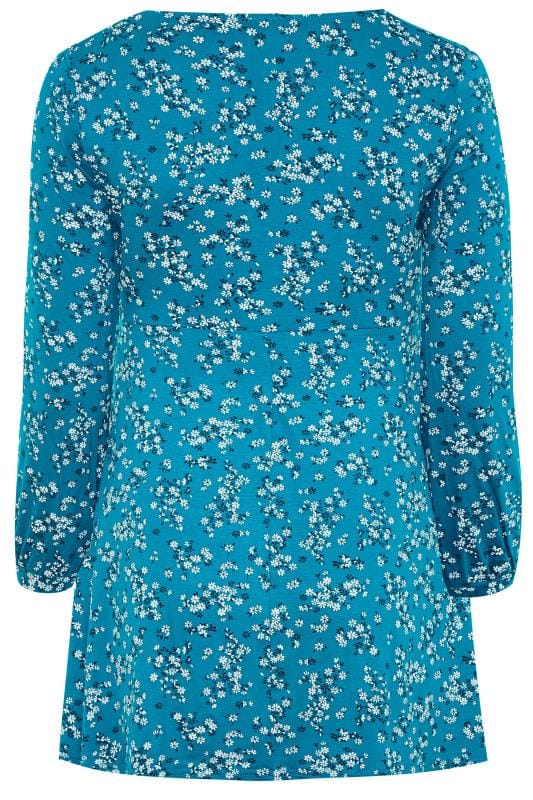 Teal Blue Ditsy Tunic Top