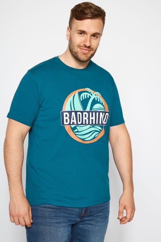 Plus Size T-Shirts BadRhino Teal Island Print T-Shirt