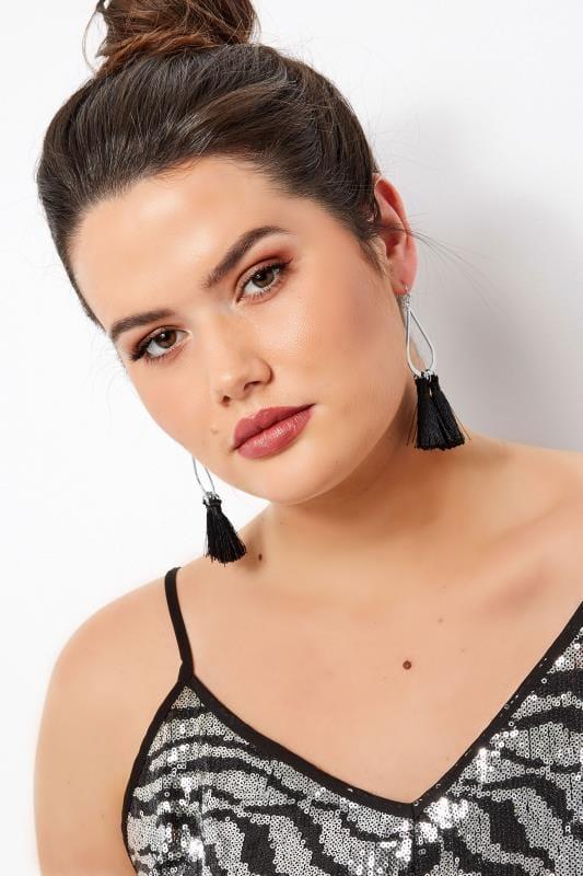 Plus Size Jewellery Teardrop Tassel Earrings Black