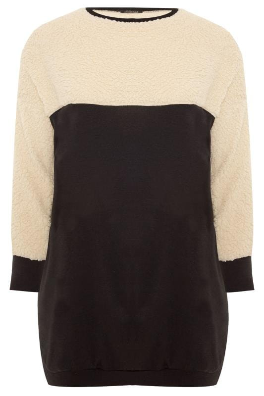 LIMITED COLLECTION Black Teddy Panel Longline Sweatshirt