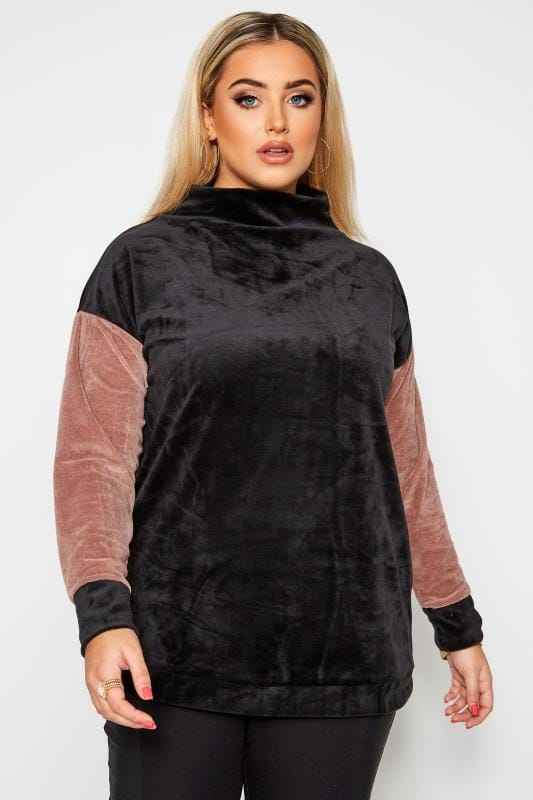 Plus Size Sweaters LIMITED COLLECTION Black Teddy Velour Jumper
