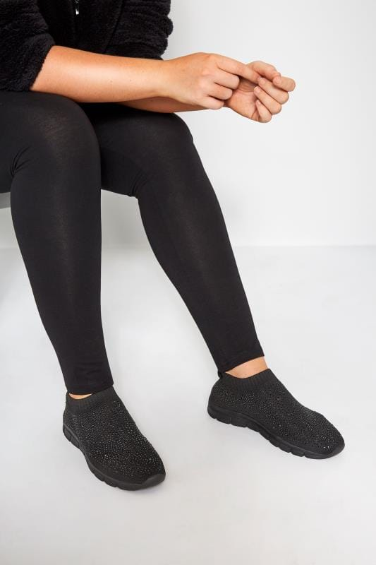 Wide Fit Trainers Black Sock Style Diamante Extra Wide Fit Trainer