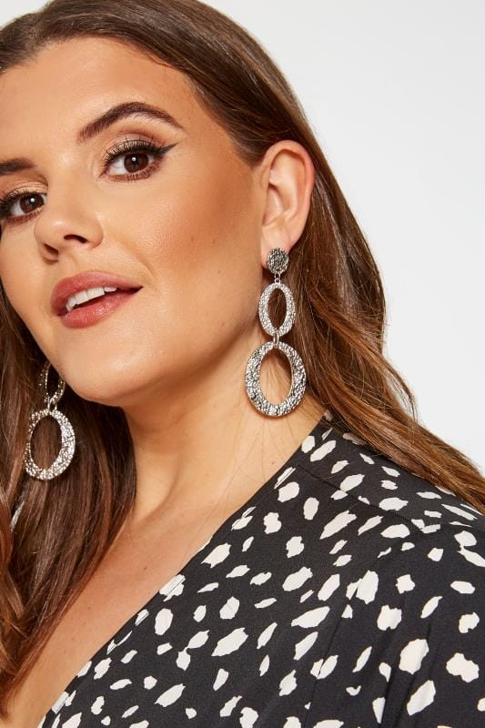 Plus Size Jewellery Textured Silver Hoop Drop Earrings