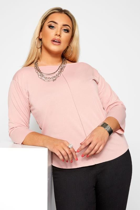 Plus Size Day Tops LIMITED COLLECTION Blush Pink Raw Edge Top