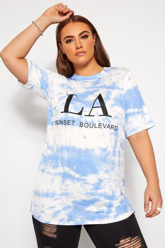 Plus Size T-Shirts LIMITED COLLECTION Blue Tie Dye Slogan T-Shirt