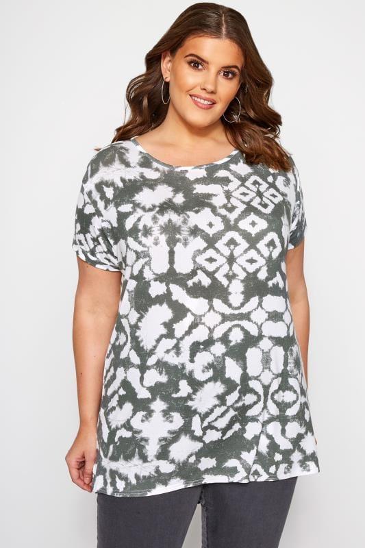 Plus Size T-Shirts Khaki Tie Dye T-Shirt