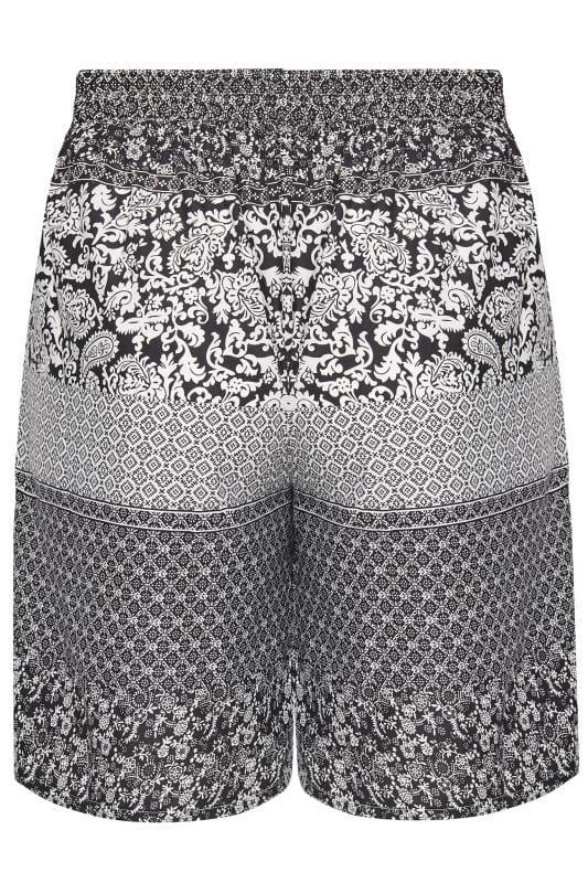Black & White Paisley Pull On Shorts