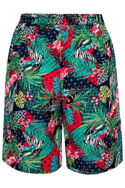 Blue Tropical Print Pull On Shorts